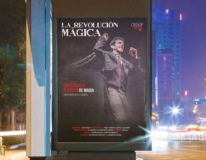 """Diseño de cartel espectáculo """"La Revolución Mágica"""" de Asier Kidam"""