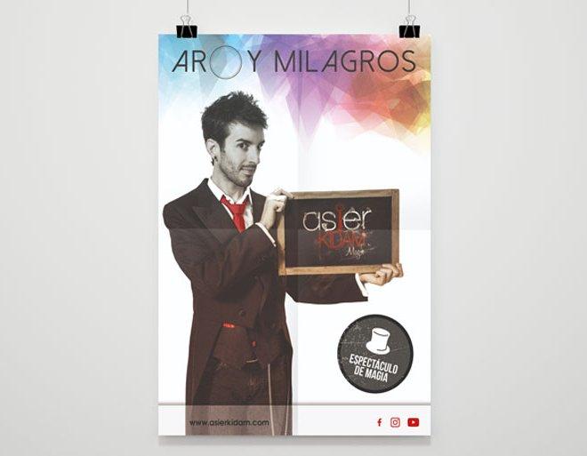 """Diseño de cartel espectáculo """"Aro y milagros"""" de Asier Kidam"""