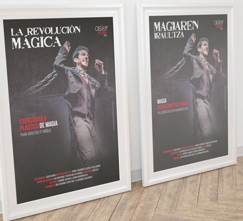 Diseño de gráfica publicitaria para el mago vitoriano Asier Kidam