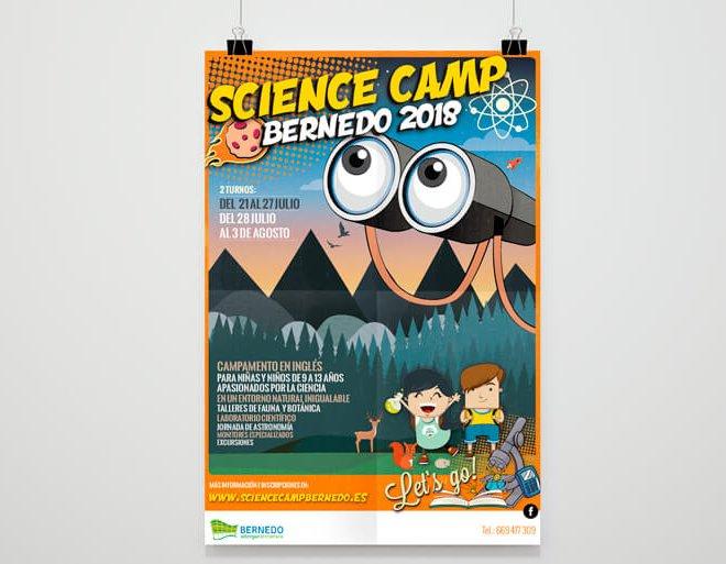 diseño cartelería science camp bernedo