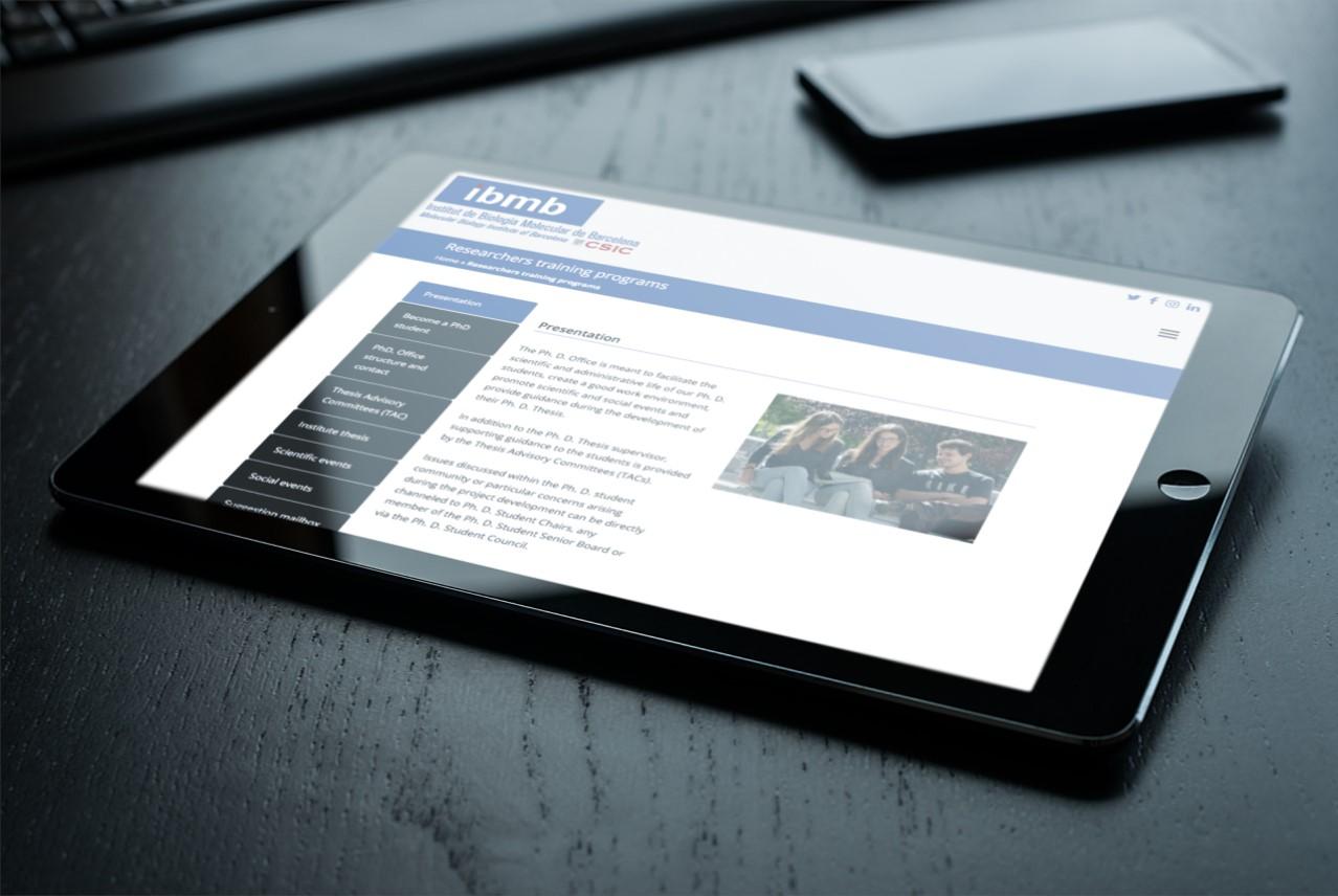 Diseño y desarrollo web IBMB - CSIC