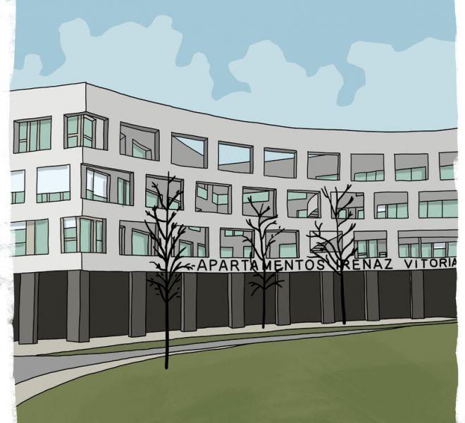 ilustracion-fachada-apartamentos-irenaz-vitoria-gasteiz