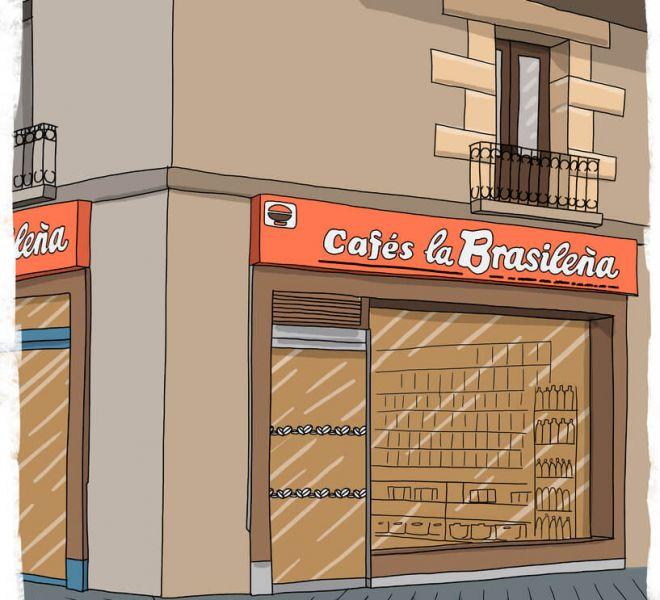 ilustracion-fachada-cafes-la-brasileña-vitoria-gasteiz