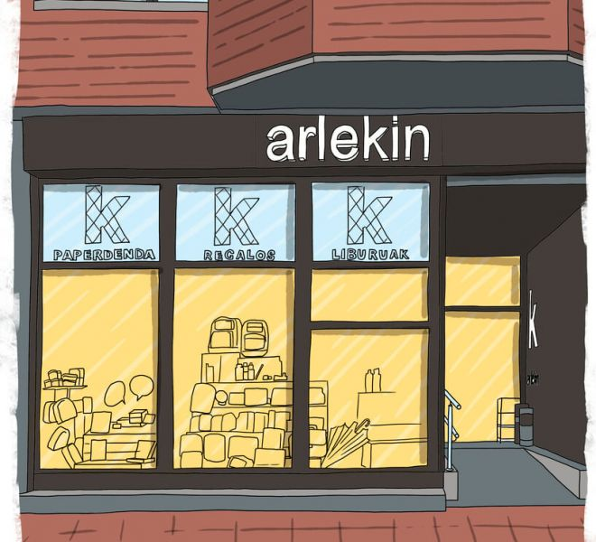 ilustracion-fachada-libreria-arlekin-vitoria-gasteiz